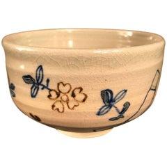 "Japanese Fine ""SPRING FLOWERS"" Tea Bowl, Hand Built,  Hand Glazed & Signed"