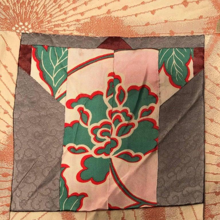 Japanese Fine Vintage Hand Sewn Silk Kimono Quilt Wall Art, Pretty Pastels For Sale 10
