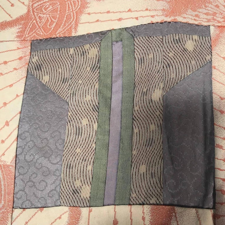 Japanese Fine Vintage Hand Sewn Silk Kimono Quilt Wall Art, Pretty Pastels For Sale 11