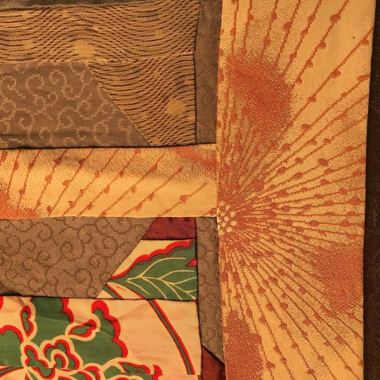 Japanese Fine Vintage Hand Sewn Silk Kimono Quilt Wall Art, Pretty Pastels For Sale 12