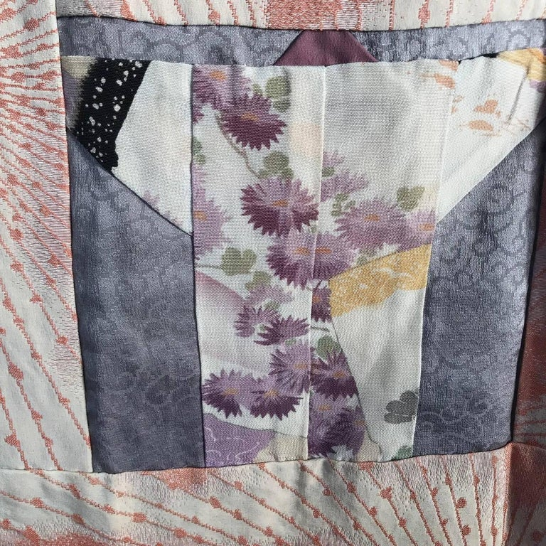 Japanese Fine Vintage Hand Sewn Silk Kimono Quilt Wall Art, Pretty Pastels For Sale 6