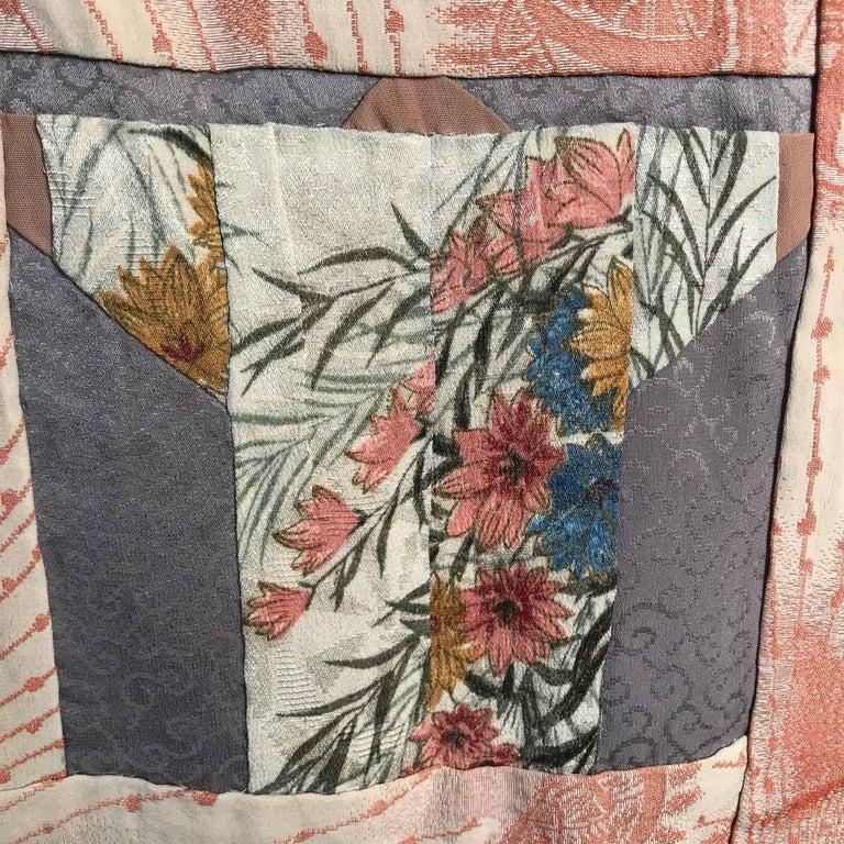 Japanese Fine Vintage Hand Sewn Silk Kimono Quilt Wall Art, Pretty Pastels For Sale 7