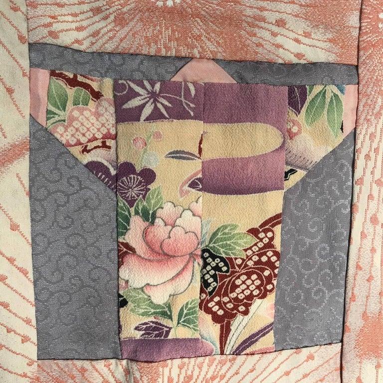 Japanese Fine Vintage Hand Sewn Silk Kimono Quilt Wall Art, Pretty Pastels For Sale 8