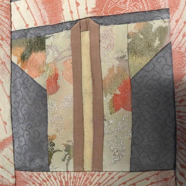 Japanese Fine Vintage Hand Sewn Silk Kimono Quilt Wall Art, Pretty Pastels For Sale 9