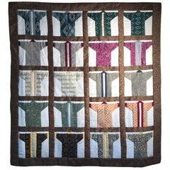 Japanese Fine Vintage Hand-Sewn Silk Kimono Quilt Wall Art Bold Colors