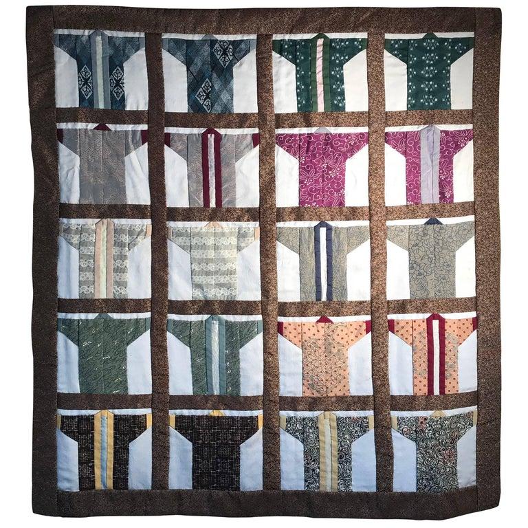 Japanese Fine Vintage Hand-Sewn Silk Kimono Quilt Wall Art Bold ...