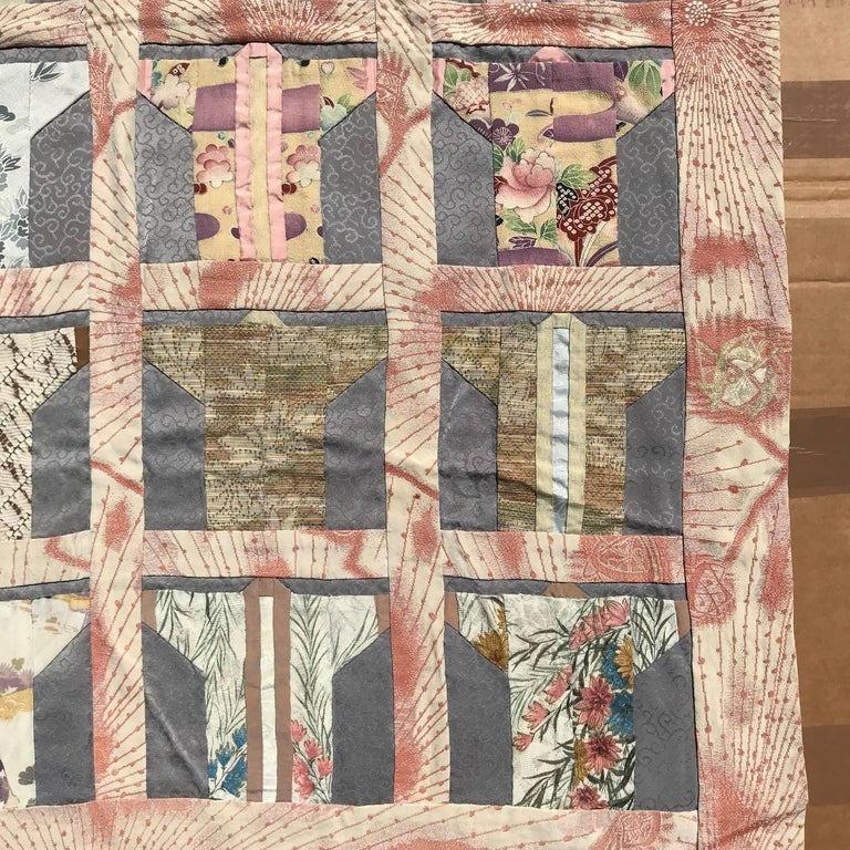 Japanese Fine Vintage Hand Sewn Silk Kimono Quilt Wall Art, Pretty Pastels For Sale 5