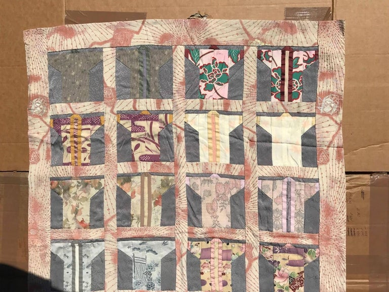 Japanese Fine Vintage Hand Sewn Silk Kimono Quilt Wall Art, Pretty Pastels In Good Condition For Sale In Shelburne, VT
