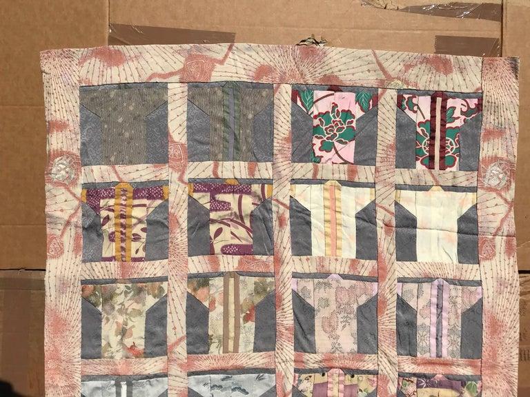 20th Century Japanese Fine Vintage Hand Sewn Silk Kimono Quilt Wall Art, Pretty Pastels For Sale