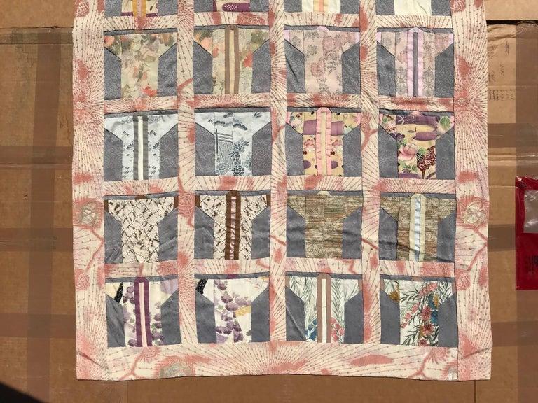 Japanese Fine Vintage Hand Sewn Silk Kimono Quilt Wall Art, Pretty Pastels For Sale 1