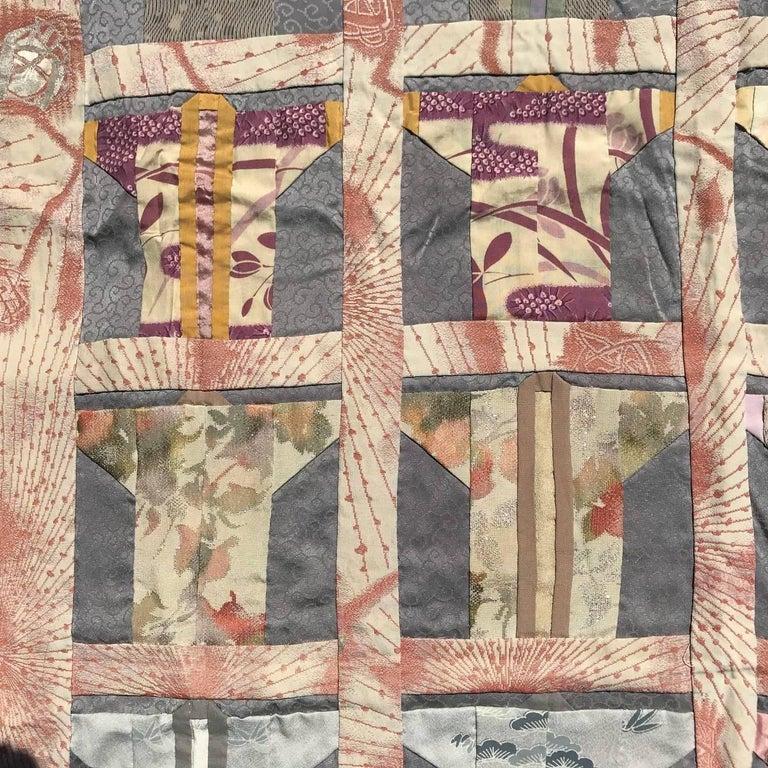 Japanese Fine Vintage Hand Sewn Silk Kimono Quilt Wall Art, Pretty Pastels For Sale 2