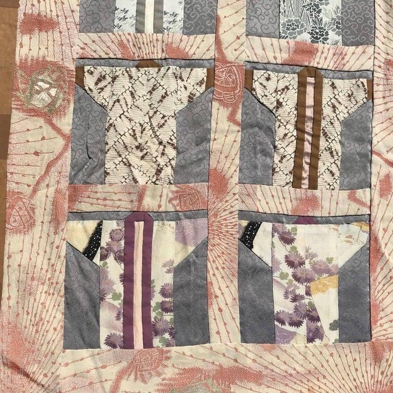 Japanese Fine Vintage Hand Sewn Silk Kimono Quilt Wall Art, Pretty Pastels For Sale 3