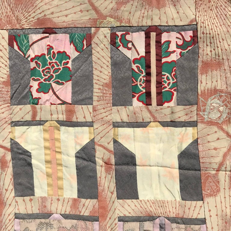Japanese Fine Vintage Hand Sewn Silk Kimono Quilt Wall Art, Pretty Pastels For Sale 4