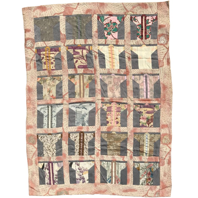 Japanese Fine Vintage Hand Sewn Silk Kimono Quilt Wall Art, Pretty ...