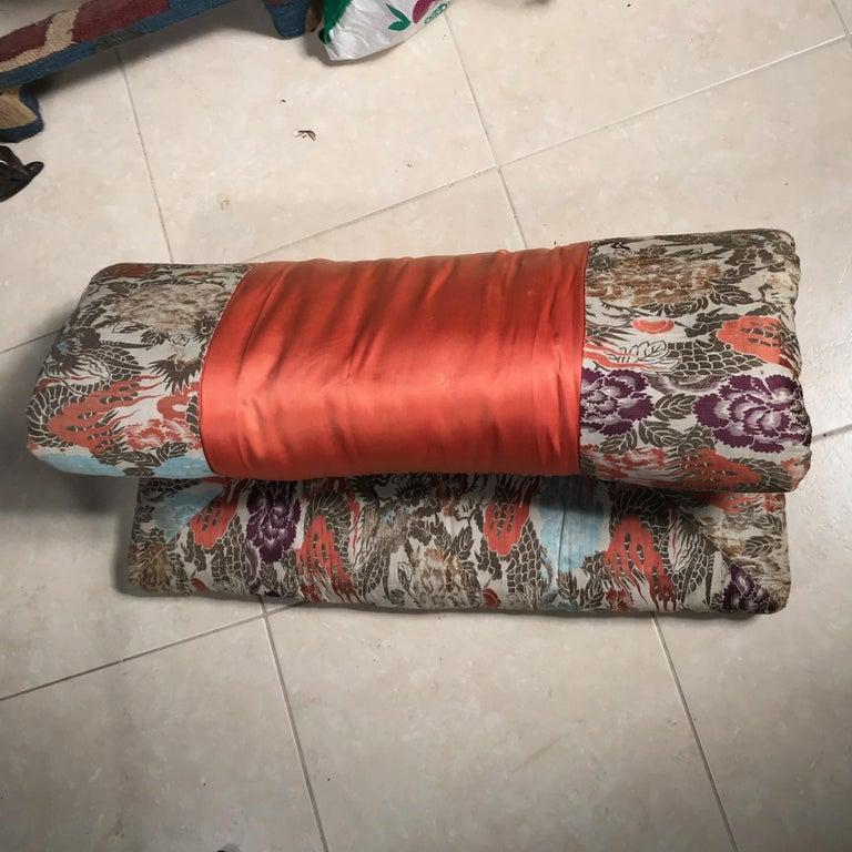 Japanese Fine Vintage Silk Meditation Pillow Rug Cushion For Sale 4