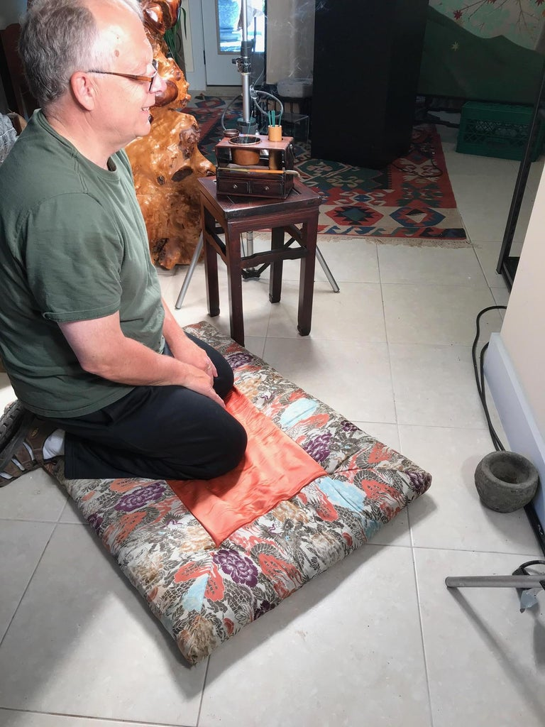 Rare find from our last Japanese Acquisition trip to Japan.   A first. An authentic large Japanese antique meditation cushion or pillow rug crafted from beautiful silk. It dates to about 80 years ago and is still in fine usable