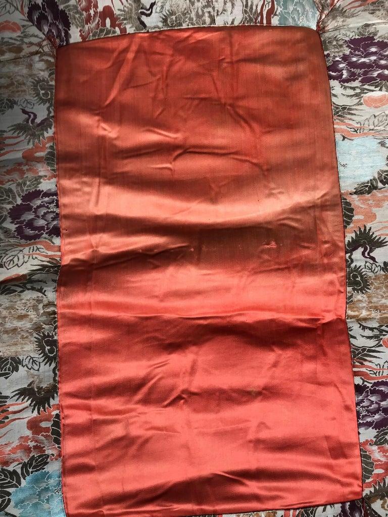 Showa Japanese Fine Vintage Silk Meditation Pillow Rug Cushion For Sale