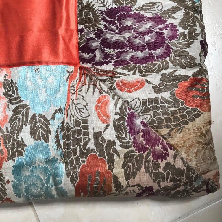 Hand-Crafted Japanese Fine Vintage Silk Meditation Pillow Rug Cushion For Sale