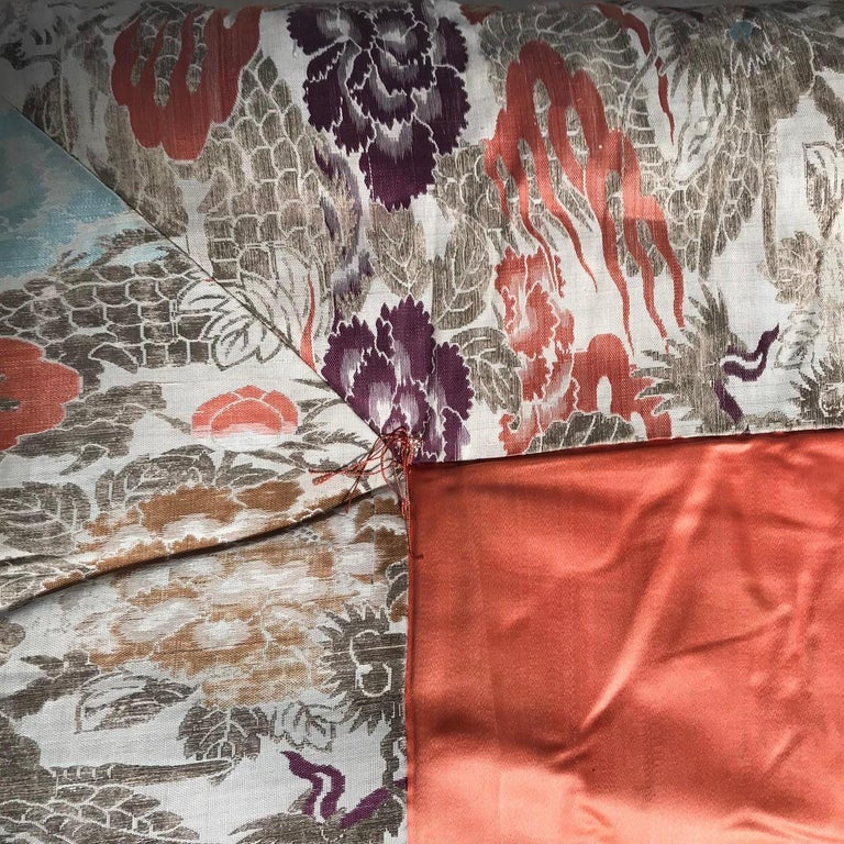 Japanese Fine Vintage Silk Meditation Pillow Rug Cushion In Good Condition For Sale In Shelburne, VT