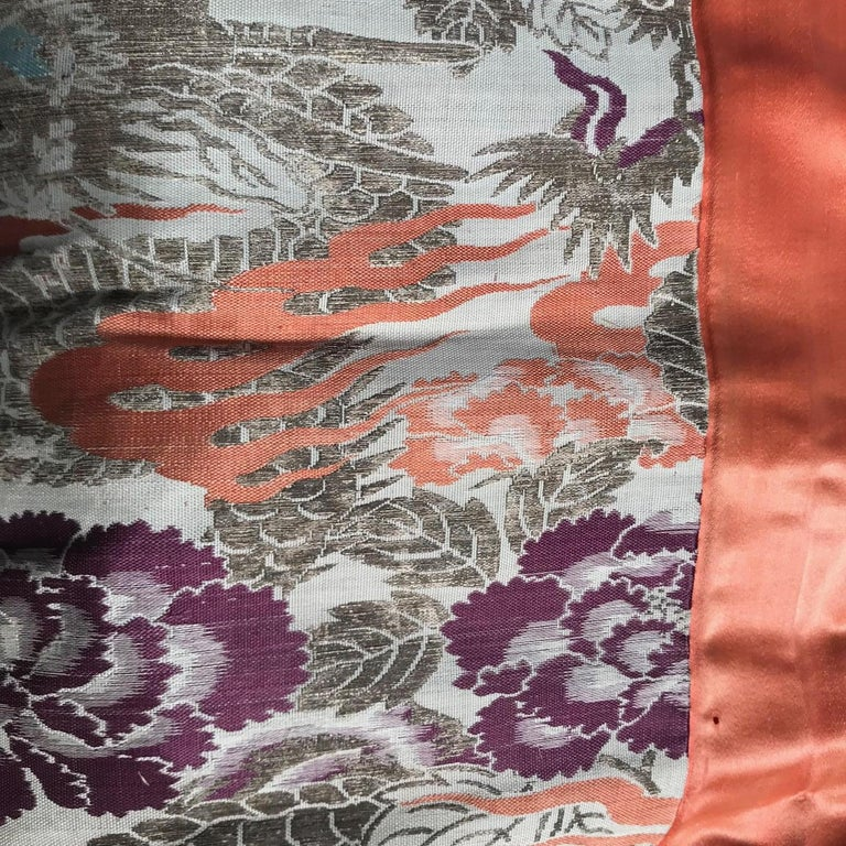 20th Century Japanese Fine Vintage Silk Meditation Pillow Rug Cushion For Sale
