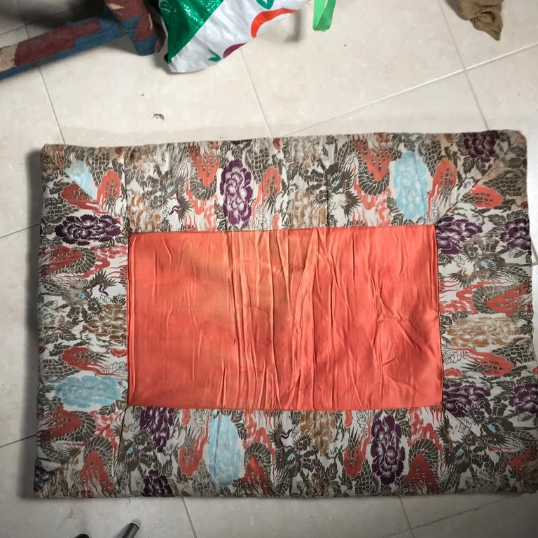 Japanese Fine Vintage Silk Meditation Pillow Rug Cushion For Sale 2