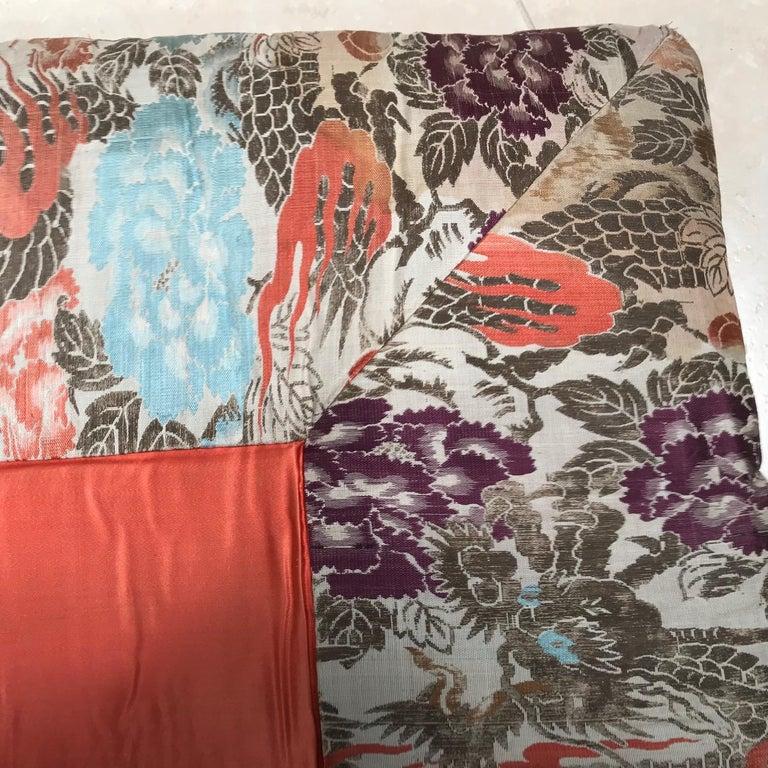 Japanese Fine Vintage Silk Meditation Pillow Rug Cushion For Sale 3
