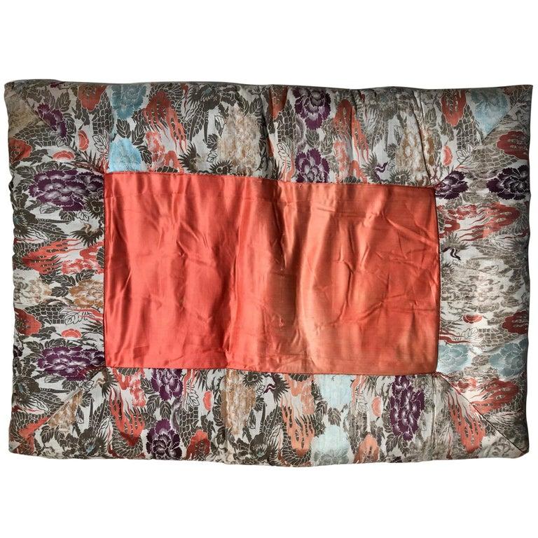 Japanese Fine Vintage Silk Meditation Pillow Rug Cushion For Sale
