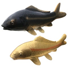 Japanese Finely Cast Huge Bronze Pair of Koi Signed, Mint Condition