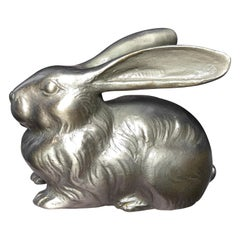 Japanese Finest Antique Silver Crouching Rabbit with Rare Triple Signature