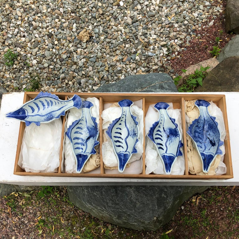 Taisho Japanese Five Hand Painted Blue and White Fish Condiment Plates Nautical Delight For Sale