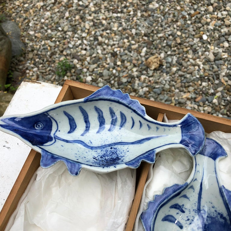 Hand-Painted Japanese Five Hand Painted Blue and White Fish Condiment Plates Nautical Delight For Sale