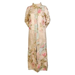 Japanese Floral Silk Evening Coat Hand Embroidered Pastel Silk and Gold Thread