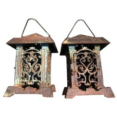 "Japanese Flower Garden ""Vine of Life"" Lanterns Pair, Beautiful Blue Patina"