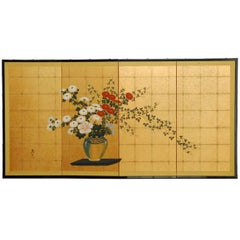 Japanese Flower Vase on Gold Leaf Byobu Screen