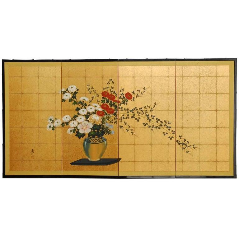Japanese Flower Vase on Gold Leaf Byobu Screen