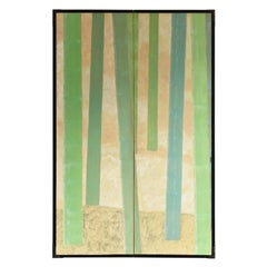 """Japanese Folding Screen """"Bamboo Grove Painting"""" / Antique Painting / Partition"""