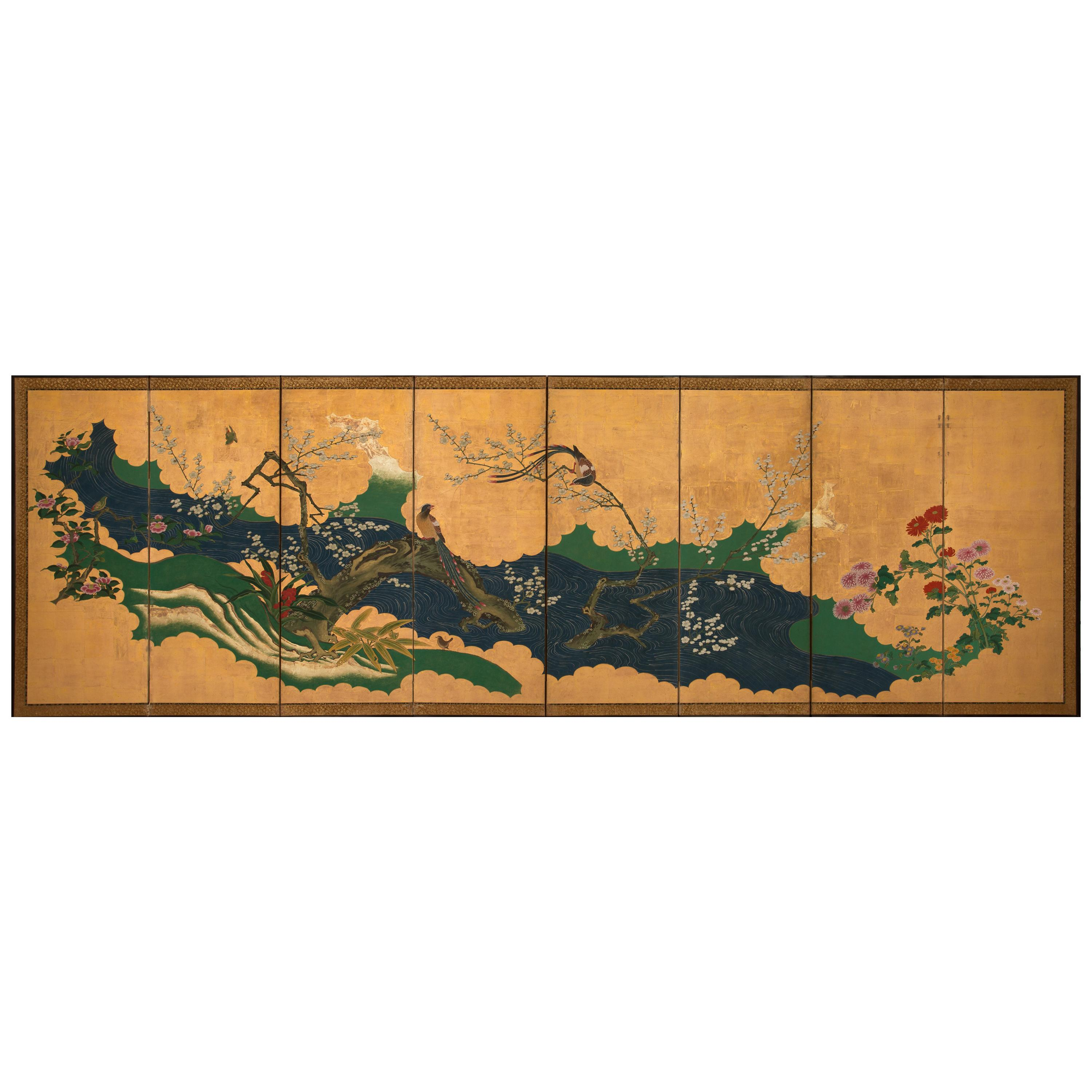 Japanese Folding Screen with a Spring Landscape, Kano School, 19th Century