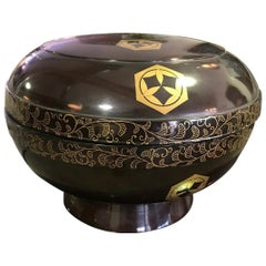 Japanese Footed Black Red Lacquer Bowl or Box with Lid and Gold Decoration