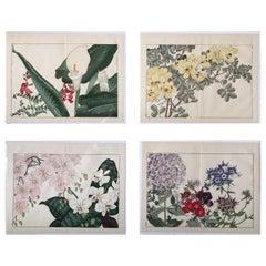 Japanese Four Fine Woodblock Flower Prints, Vibrant Colors, Frameable #1