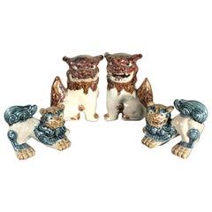 Japanese Four Foo Dogs Shishi Koma-Inu, Two Pair Glazed Works of Art