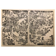 Japanese Four Old Kyoto Garden Woodblock Prints 18th-19th Century, Frameable
