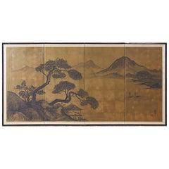 Japanese Four Panel Byobu Gilt Landscape Screen
