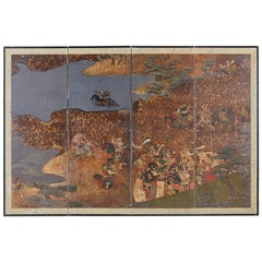 Japanese Four-Panel Edo Screen Battle of Yashima