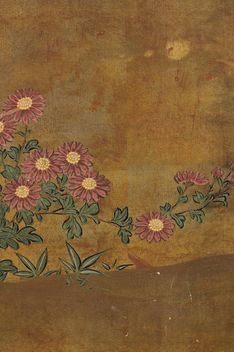 Japanese Four-Panel Flowers of Autumn Byobu Screen 5