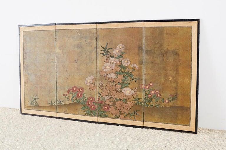 Japanese Four-Panel Flowers of Autumn Byobu Screen 7