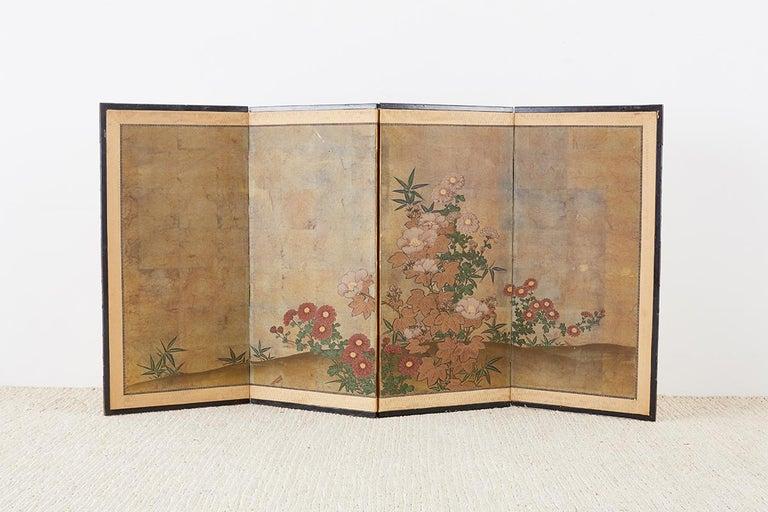 Japanese Four-Panel Flowers of Autumn Byobu Screen 8