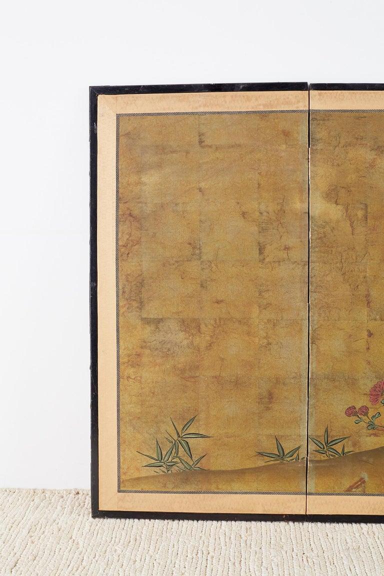 Meiji Japanese Four-Panel Flowers of Autumn Byobu Screen