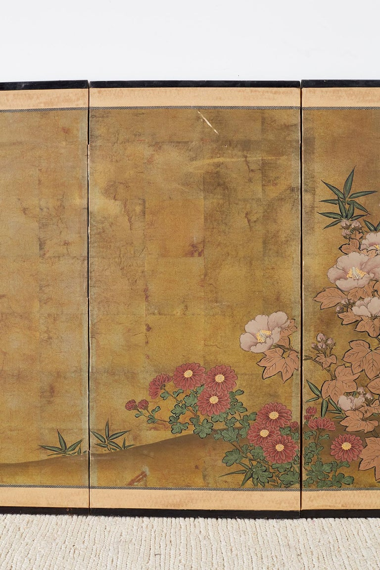 Lacquered Japanese Four-Panel Flowers of Autumn Byobu Screen