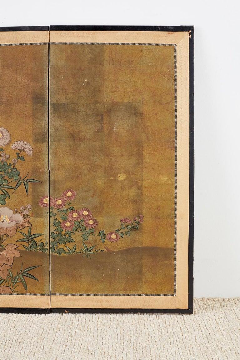 20th Century Japanese Four-Panel Flowers of Autumn Byobu Screen