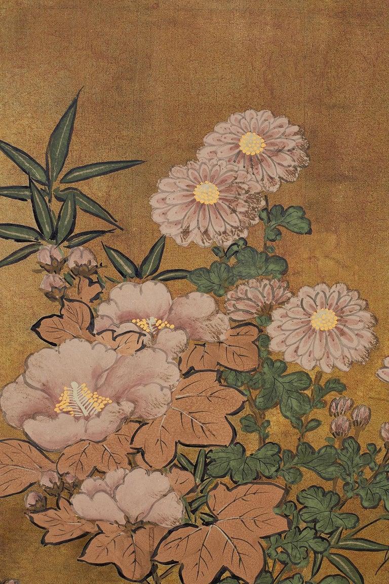Silk Japanese Four-Panel Flowers of Autumn Byobu Screen